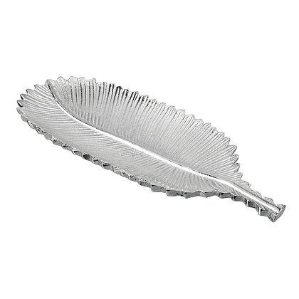 Large Silver Boho Feather Dish
