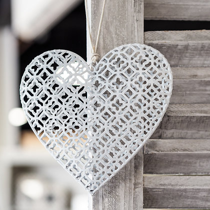 White Metal Hanging Love Heart Decoration