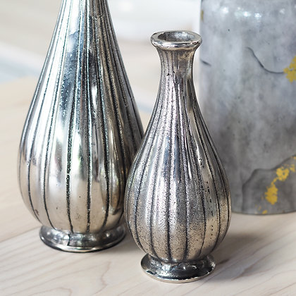 Small Silver Bottle Shaped Vase