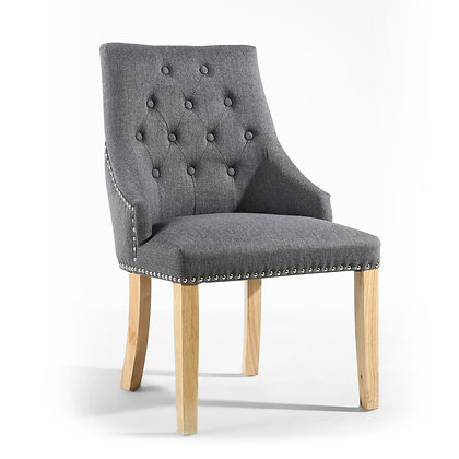 Steel Grey Stud & Button Chair