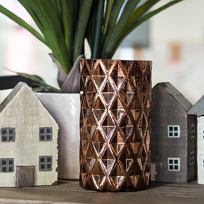 Oracle Copper Geometric Candle Holder
