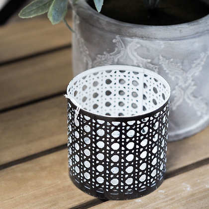 Toronto Bronze + White Laser Cut Candle Holder