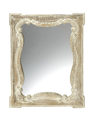 Carved White Wash Mirror
