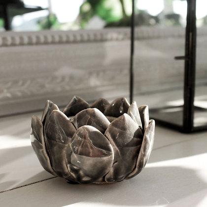 Dark Grey Lotus Tealight Holder