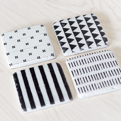 Black + White Patterned Stone Coasters (Set of 4)