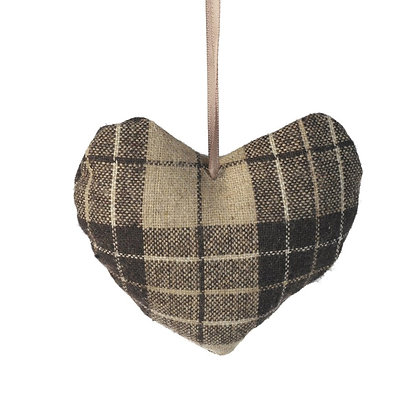 Brown Gingham Love Heart Hanging Accessory
