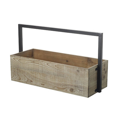 Wood & Iron Industrial Rustic Hanging Plant Box