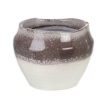 Iris Grey + White Ceramic Planter