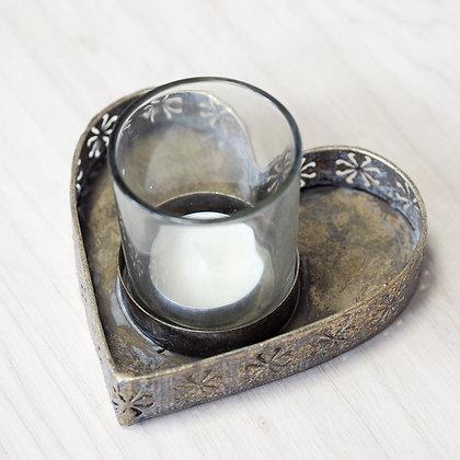 Vintage Inspired Gold Heart Tealight Holder