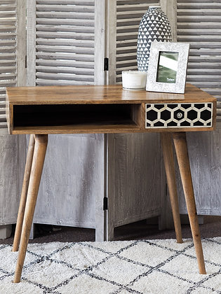 Black & White Mango Wood Writing Desk