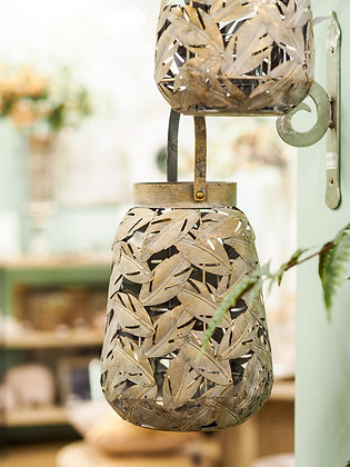 Large White Washed Bronze Leaf Hanging Lantern