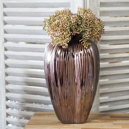 Pink + Bronze Metallic Valerie Curved Vase