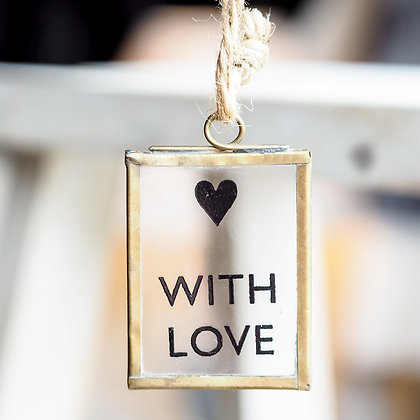 "Mini ""With Love""Glass Sign"