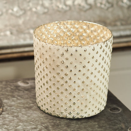 Kyra Cream + Gold Glass Tealight Holder