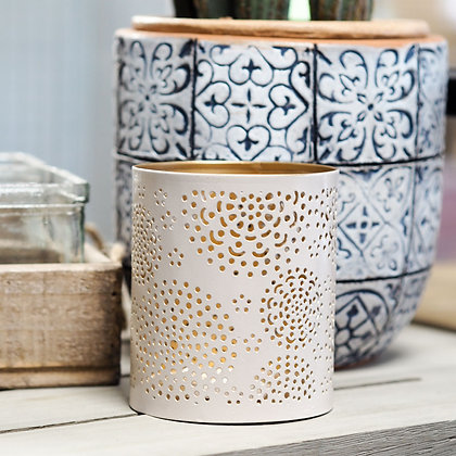 Venice White + Gold Laser Cut Candle Holder