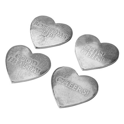 "Silver ""Bottoms Up"" Love Heart Coasters x 4"