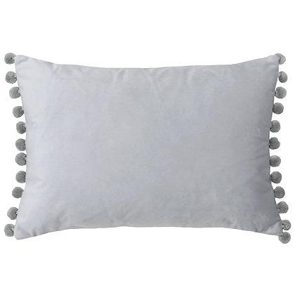 Dove & Silver Velvet Touch Pom-Pom Cushion