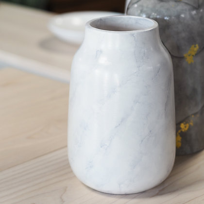 Large Marbled Grey + White Vase