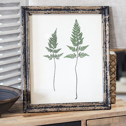 Rustic Botanical Leaf Print Wall Art In Wooden Frame