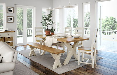 Cream painted furniture, painted dining table, dining set Bradford, ivory furniture Leeds