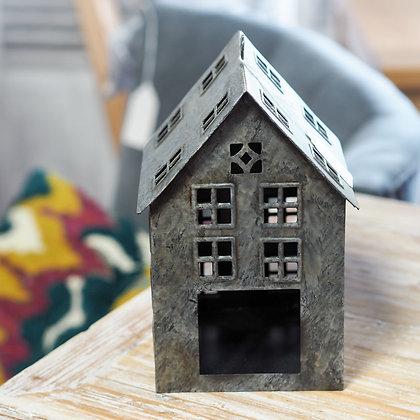 Large Dark Grey Metal House Tealight Holder