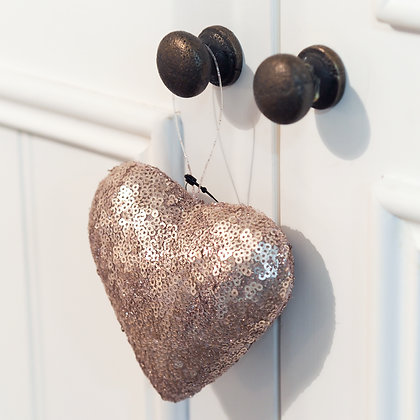 Pink Sequin Hanging Love Heart Decoration