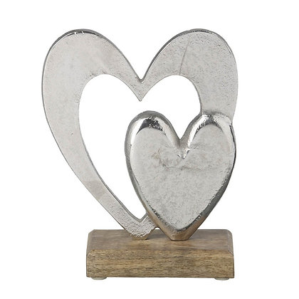 Large Silver + Wood Heart Decorative Accessory