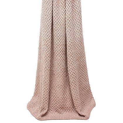Blush Pink + White Knitted Elina Throw
