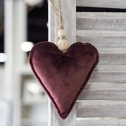 Damson/Pink Velvet Touch Fabric Love Heart Hanging Decoration