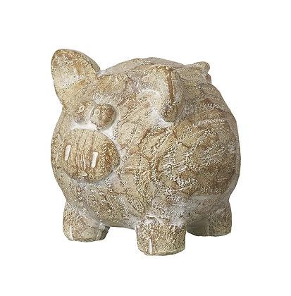 Wooden Carved Pig Figurine Ornament