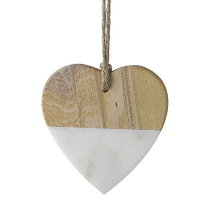 Marble + Wood Hanging Love Heart
