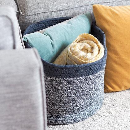 Large Blue + White Oakley Cotton Storage Basket