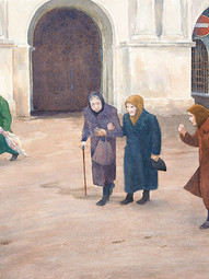 Babushkas Coming from Church