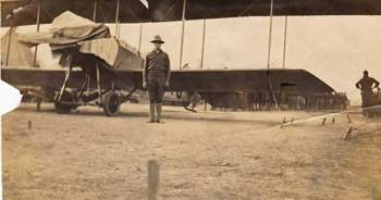 WWI Biplane and Soldier
