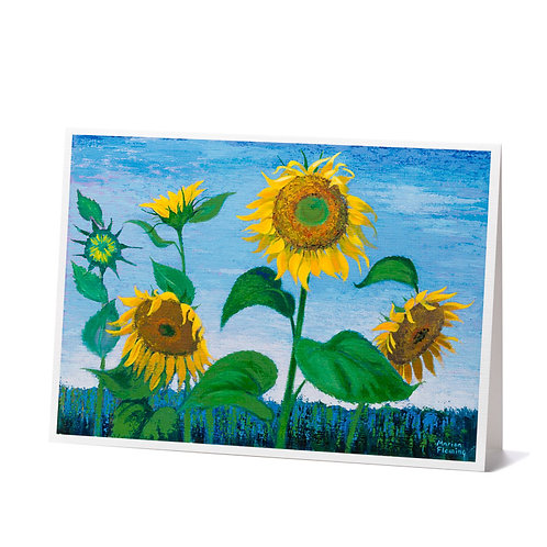 Evening Sunflowers Greeting Cards