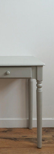 Grey painted console table.