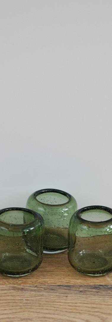 Green blown glass tealight holders