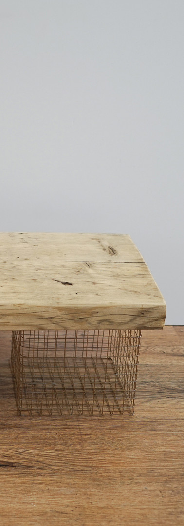 Gold Mesh and Timber Table Risers
