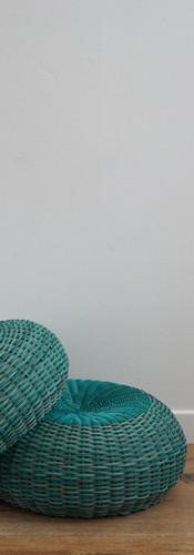 Turquoise wicker pouffe