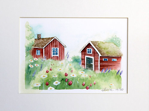 Two Houses by the Meadow / Limited Edition Print 24x18cm