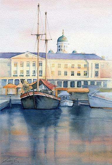 Helsinki Market Waterfront / Art Print A4