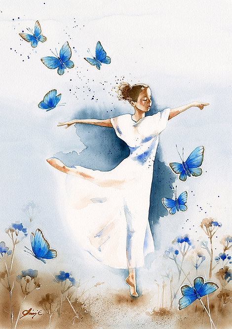 Dancing with Butterflies / Art Print A3+
