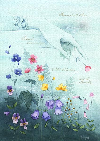Seven Flowers / Original Painting 21x30cm
