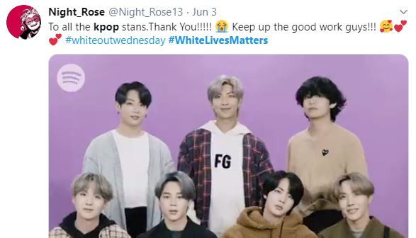 Tweets using #whitelivesmatters uploaded with BTS pictures