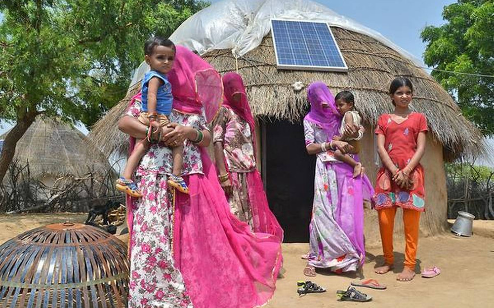 Solar panels installed in Indian Villages