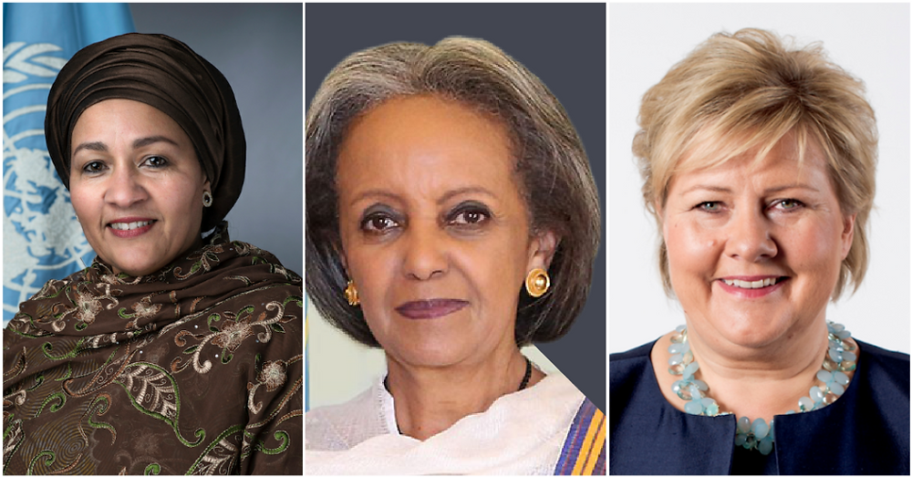 From left: Amina Mohammed, Sahle-Work Zewde and Erna Solberg