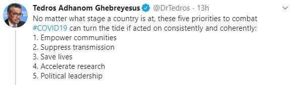 Tweet by WHO chief Tedros Adhanom
