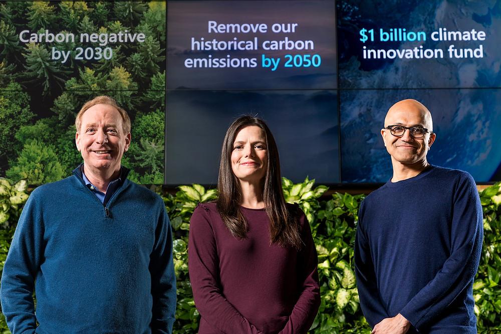 President Brad Smith, CFO Amy Hood and CEO Satya Nadella announced the plan