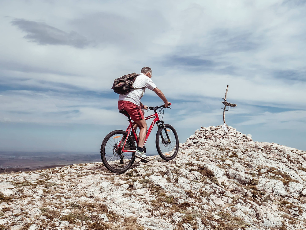 Man cycling.