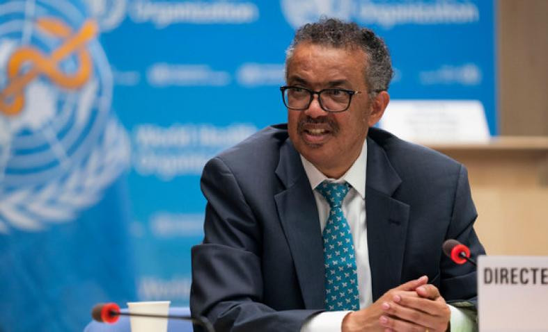 WHO Head Tedros Adhanom Ghebreyesus addressing 73rd World Health Assembly in Geneva